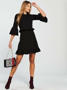 Brand New V By Very Frill Waist  Mini Dress Black Size UK 12