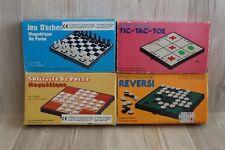 Lot de 4 jeux magnetiques voyage : Solitaire, Echecs, Morpion, Reversi - complet