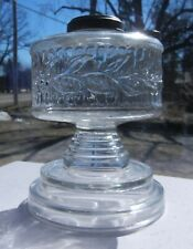 Vintage Stepped Foot Oil Lamp Font w/ Filler Cap & Nicely Decorated Middle
