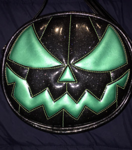 Love Pain & Stitches Hand Crafted Mean Pumpkin Teal and Black Glitter Bag Purse