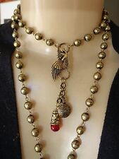 Vivi Necklace Phoenix Bird Pendant W/ Charms Long Beaded Chain