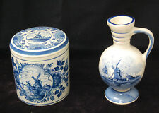 Set of 2 Delft Blue Pieces Holland - Vase w/ Handle, Canister w/ Lid [S8057]