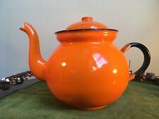 Vintage Black and Orange Baked Enamel Tea Pot - Made in Poland