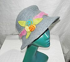*DARTINGTON S BLUEY GREY FELTED MULTI  FLOWER CLOCHE HAT DESIGNER HAND MADE CHIC