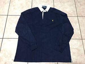 VTG Polo By Ralph Lauren 1/4 Button  Elbow Pads T Shirt Sweatshirt Size L Mens