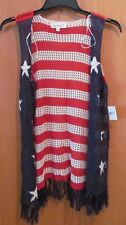 Women's STARS AND STRIPES Crochet Fringed VEST~Size 2X~NEW w/tags