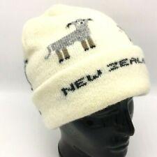 New Zealand Wool Knit Hat Beanie White Toque Lamb Sheep Double Layer Winter Ski