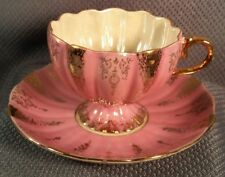 ANTIQUE PORCELAIN TEA CUP SAUCER SET UNSIGNED JAPAN SCALLOPED PINK GOLD FOOTED