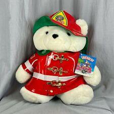 "1996 Dayton Hudson Santa Bear Fireman Christmas Teddy Plush Toy 18"" Fire Safety"