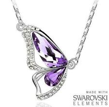 Made with Swarovski Elements Beautiful Purple Butterfly Pendant & Necklace - £35