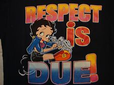 Vintage 2001 Betty Boop Respect Is Due! Navy Blue Cotton T Shirt Size L