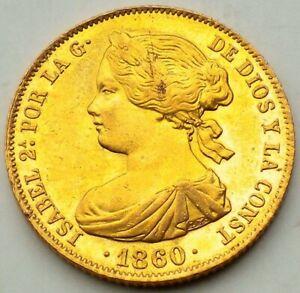 100 Reales - Isabel II - 1860 - Madrid - 8,34 gramos Oro 0.900 - Muy bonita