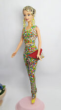 Handmade Colorful Outfit Dress & Clutch Handbag For Barbie Muse Silkstone Doll