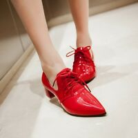 Womens Pointy Toe Shoes Lace-up Patent Leather Block Heels Shoes Plus Size4-10.5