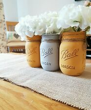 Painted Mason Jars set of 3 - Perfect for Weddings & Home decor