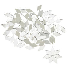 100 PCS Glass Mirror Mosaic Tiles Bulk Diamond Shape Decal Home Decor Crafts DIY