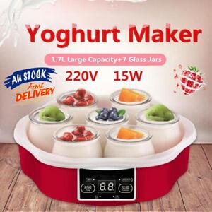 1.7L Yogurt Yoghurt Makers With Timer 7 Glass Jars Smart Touch Screen Control