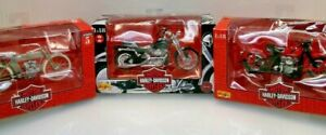 Lot of 3 Harley Davidson motorcycle figurine 1909 Twin 1962 Panhead 1997 Softail
