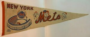 Vintage 1960's New York Mets Mr. & Lady Met Shea Stadium Full Size Felt Pennant