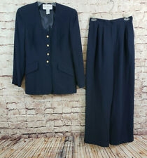 Jones New York 2 Piece Pants Suit and Blazer Jacket Size 8 Navy Blue