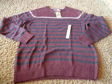 URBAN PIPELINE men's NWT sz XL burgundy, navy, & gray striped wool blend sweater