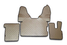 ECO LEATHER SET BEIGE FLOOR MATS COVERS TRUCK DAF XF 106 RHD AUTOMATIC GEARBOX