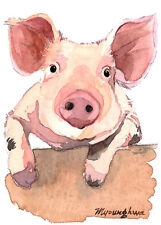 "ACEO Limited Edition 2.5""x3.5""- What's up my pig, Bird art print, Animal lover"