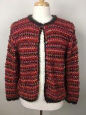 Sigrid Olsen Sport Sweater Size Medium Orange Brown Pink Cardigan Fuzzy Soft