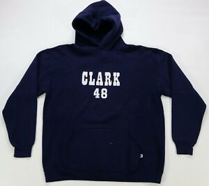 Rare Vintage RUSSELL ATHLETIC Clark 48 Hoodie Sweatshirt 90s Made In USA Navy XL