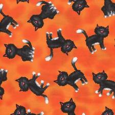 BLACK AND WHITE CATS ON BRIGHT ORANGE Cotton Fabric BTY for Quilting, Craft Etc