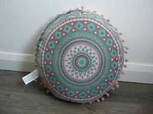 "Reversible Round Green & Pink Cushion With Pom Pom Trim 36-38cm/14-15"" Diameter"
