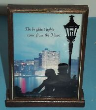 Silhouette Picture Glass Reverse Painting Couple Lamp City Scene Wallace Berrie