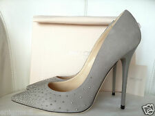 JIMMY CHOO ANOUK 120 GREY SUEDE DEGRADE STUDS POINTY TOE PUMPS SHOES 39 NIB