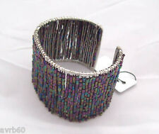 bangle bracelet womens shimmery beaded and wired cuff bracelet new