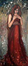 Beautiful Oil painting nice young lady standing & long hair free shipping cost