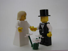 LEGO BRIDE & GROOM w BLONDE SHOULDER HAIR Wedding Minifig minifigure cake topper