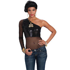 HIP HOP MESH TOP 70'S 80'S SEXY LADIES FEMALE FANCY DRESS