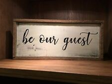 be our guest Rustic Distressed farmhouse style framed Wood Sign, guest room sign