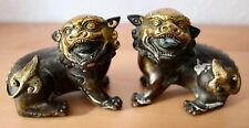 Paar China Fu Hunde aus Bronze Chinese carving Foo dogs brass Skulpture Figur