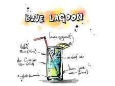 Impresión arte cartel Pintura Dibujo alcohol cóctel receta Blue Lagoon lfmp0927