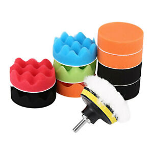 12Pcs Sponge Buffing Polishing Pad Kit for Car Polisher with Drill Adapter Set