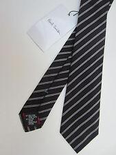 Paul Smith Cravate Très Rare Noir & Pris Rayure 7cm 100% Mélange De Soie