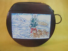 Alaska Wales Sweetheart Compact Coin Purse Round Zipper Chameleon Goat Leather