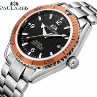PAULAREIS Men's Self Wind Automatic Mechanical Stainless Steel  Leather Watch