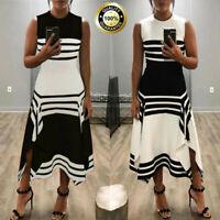 Womens Stripe Sleeveless Tank Casual Dress Ladies Round Neck Vestido Party Dress
