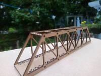 N Gauge Layout Braced Girder Rail / Road Bridge kit MDF 2mm 18CM Long Layout