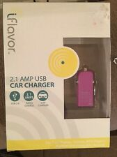 "NEW iFlavor 2.1 AMP USB Car Charger "" Purple ""usb 2.0 Rapid Charge Car Charger"