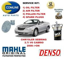 FOR CHRYSLER SEBRING 2.7 V6 CABRIO 2008-->ON OIL AIR POLLEN FILTER SERVICE KIT