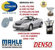 FOR CHRYSLER SEBRING 2.7 V6 CABRIO 2008-->ON OIL AIR POLLEN FILTER SERVICE KIT