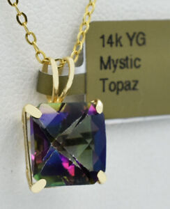AAA  MYSTIC TOPAZ  5.75 Cts  PENDANT 14K YELLOW GOLD ** New With Tag **